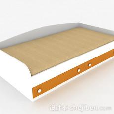白色单人床3d模型下载