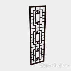 中式木质棕色隔断3d模型下载