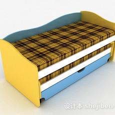 现代风多色条纹床3d模型下载