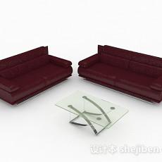商务红色组合沙发3d模型下载