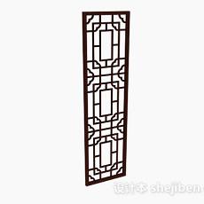 中式木质门3d模型下载