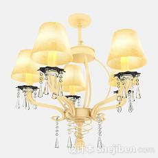 欧式暖黄色烛台式吊灯3d模型下载