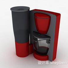 红色咖啡机3d模型下载