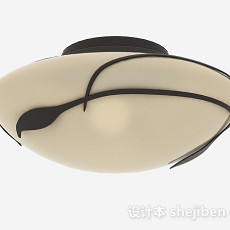 中式风格白色吸顶灯3d模型下载