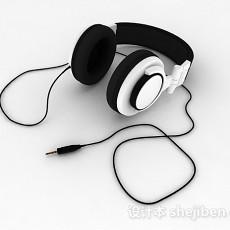 黑白双色有线耳机3d模型下载