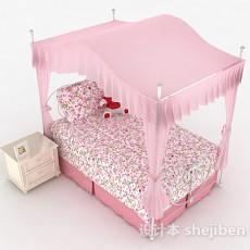 粉色公主风碎花单人床3d模型下载