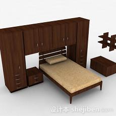棕色木质衣柜床组合3d模型下载