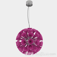 紫色喇叭状圆形吊灯3d模型下载