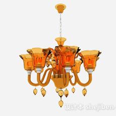 地中海风格喇叭状水晶吊灯3d模型下载