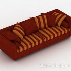红色条纹双人沙发3d模型下载