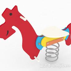 红色海马单车儿童弹簧3d模型下载
