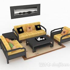 新中式家居黄色组合沙发3d模型下载