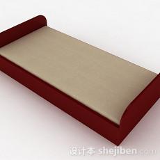 枣红色单人床3d模型下载