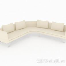 米黄色简约多人沙发3d模型下载