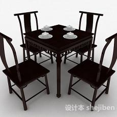 中式餐桌椅3d模型下载