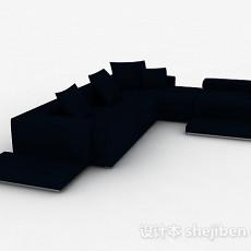 蓝色简约多人沙发3d模型下载