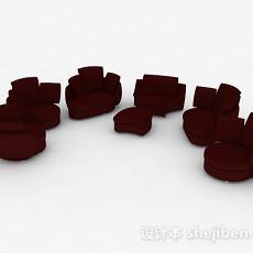 红色单人沙发组合3d模型下载