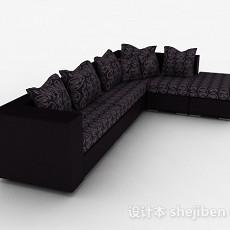 黑色花纹多人沙发3d模型下载