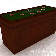 棕色木质堵桌3d模型下载
