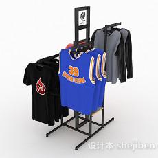 商城黑色衣服展示架3d模型下载
