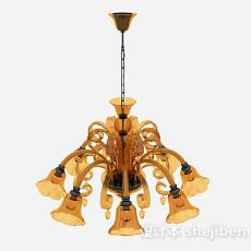 地中海风格喇叭状玻璃吊灯3d模型下载