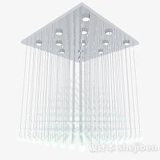 方形水晶流苏吊灯3d模型下载