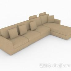 棕色简约多人沙发3d模型下载