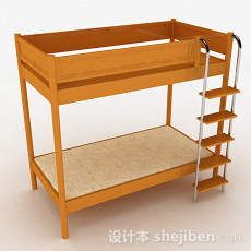 木质上下层单人床3d模型下载