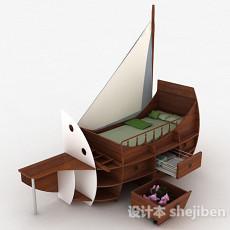 帆船儿童单人床3d模型下载