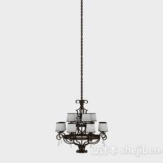 欧式棕色金属客厅吊灯3d模型下载