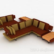棕色组合沙发3d模型下载