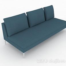 蓝色多人沙发3d模型下载