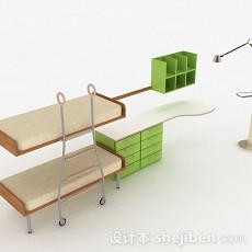 浅绿色上下层单人床3d模型下载