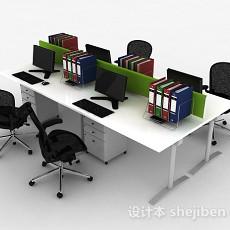 现代风白色办公室桌椅组合3d模型下载