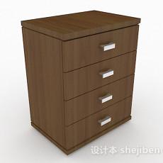 棕色四层木质床头柜3d模型下载