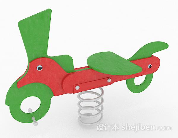 绿色单车儿童弹簧椅