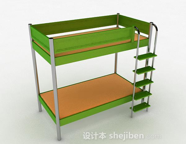 绿色上下层单人床