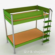 绿色上下层单人床3d模型下载