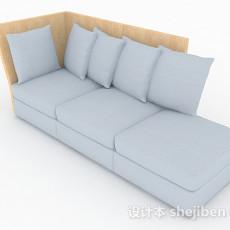 简约灰色多人沙发3d模型下载