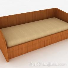 浅棕色木纹单人床3d模型下载