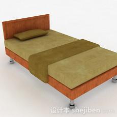 浅棕色单人床3d模型下载