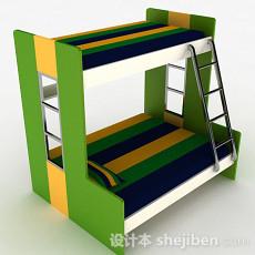 绿色时尚高低床3d模型下载