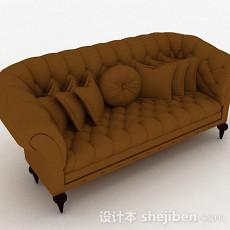 欧式棕色双人沙发3d模型下载