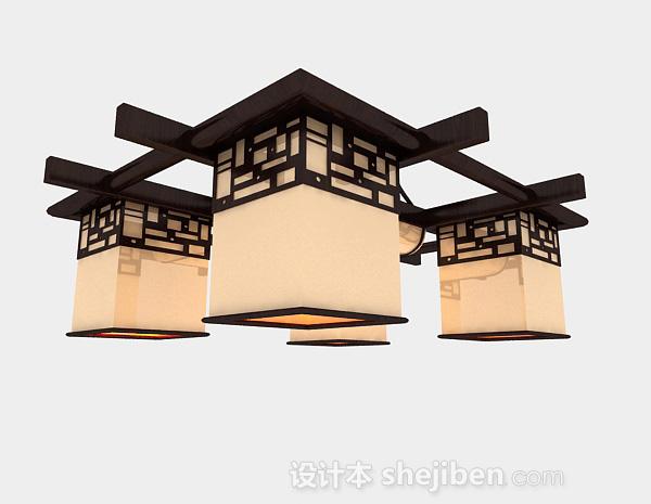 吊灯模型下载_中式方形吊灯3d模型下载-设计本3D模型下载