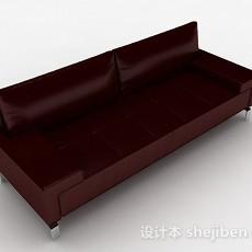 暗红色简约多人沙发3d模型下载