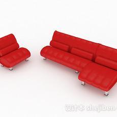 红色组合沙发3d模型下载