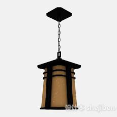 黑色金属方形吊灯3d模型下载