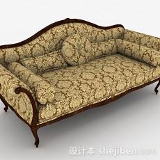 欧式黄色双人沙发3d模型下载