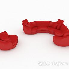 红色休闲组合沙发3d模型下载