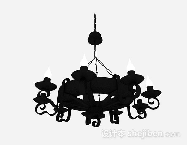 欧式黑色金属圆形造型吊灯
